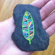 Hand drawn leaf on a slate